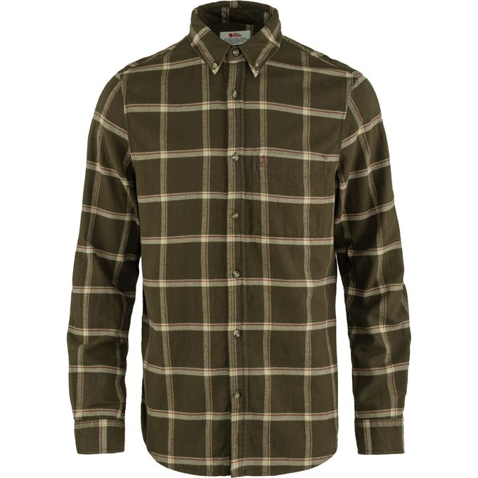 Fjällräven Övik Comfort Flannel Shirt M Brown, Dark green, Green, Beige Men's