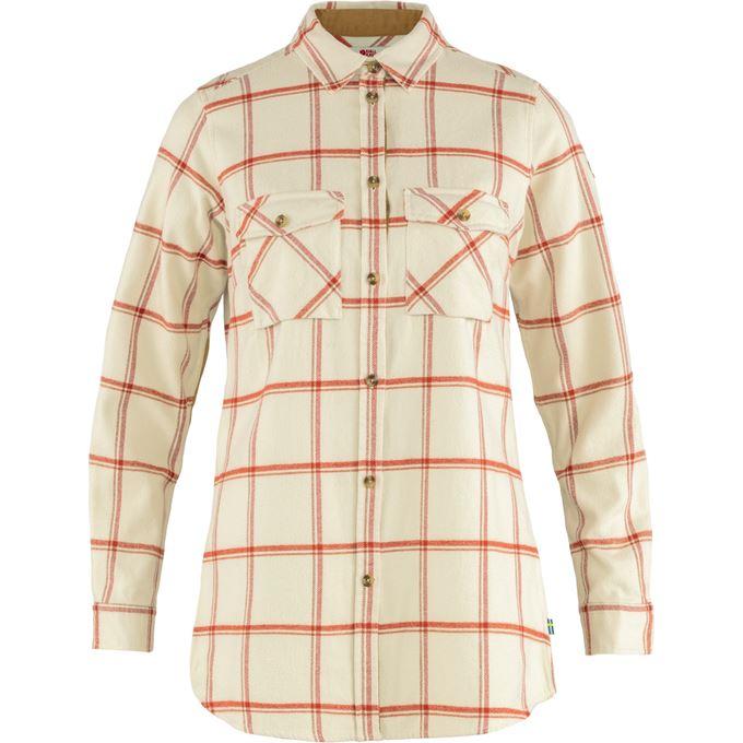 Fjällräven Övik Twill Shirt LS W Shirts White, Red Women's