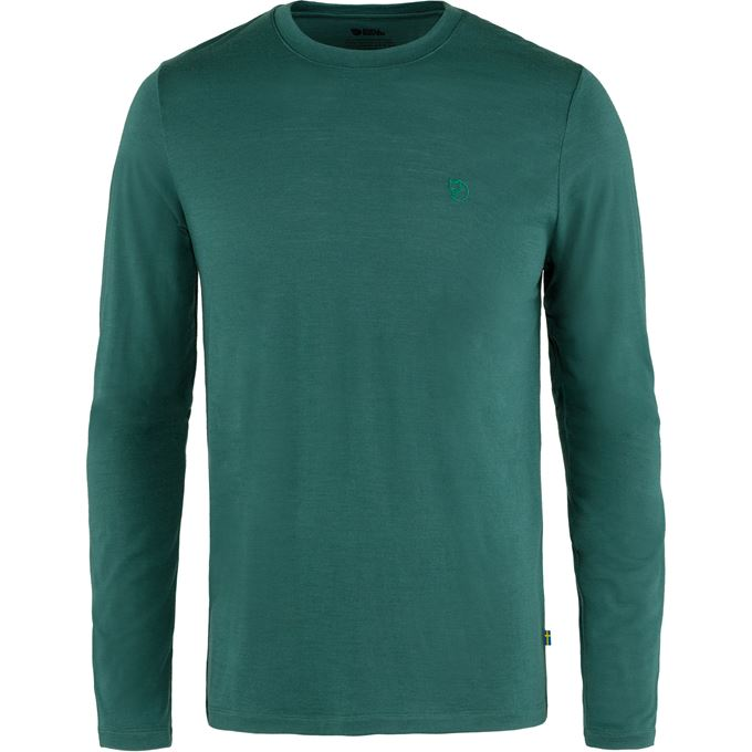 Fjällräven Abisko Wool LS M Base layer tops Dark green, Green Men's
