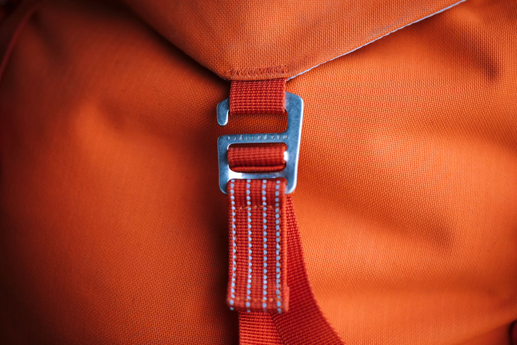 Closeup image of Bergstagen front strap closure